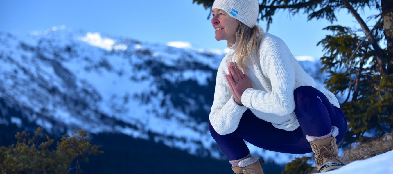 Balade et yoga 'pour vibrer à l'unisson' version hivernale