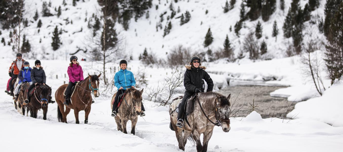 Découverte de l'équitation dans la neige